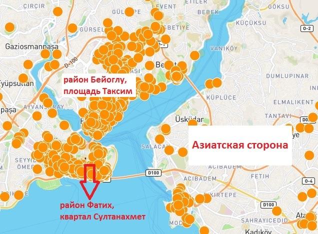 карта отелей Стамбула