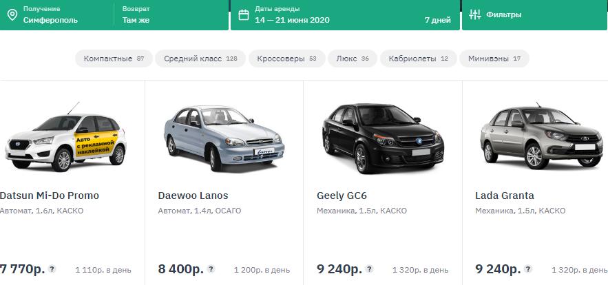 Крым автопрокат цены