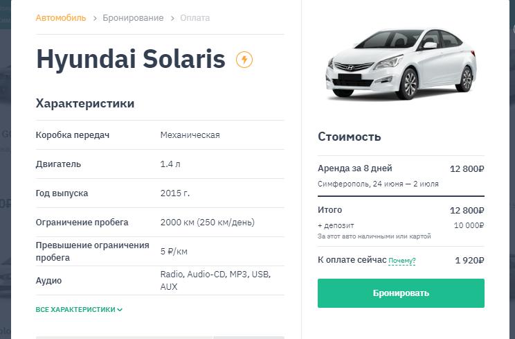 аренда авто в Крыму